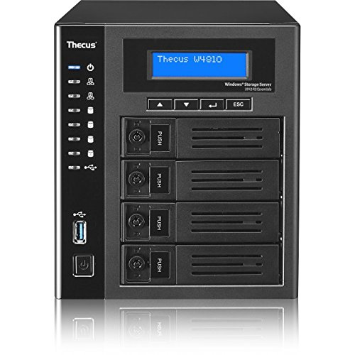 Thecus W4810 4-Bay WSS NAS with Intel Celeron N3160 1.6 GHz Qual Core, 4GB RAM, Windows License Included - Black (Processor System Integration Audio)