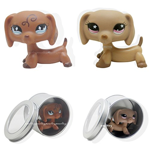 [tongrou 2pcs RARE Littlest Pet Shop Brown Dachshund Dog Puppy LPS #640 #932] (Jack In The Box Costume Head For Sale)