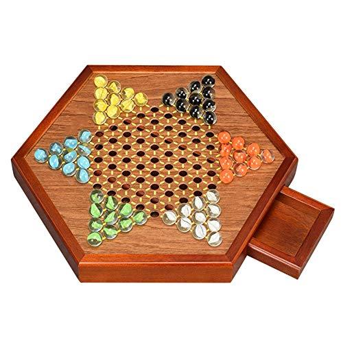 Chino de Madera de Tablero de Damas Juego Set, con Almacenamiento cajones y mármoles de Cristal, Familia Juego de Puzzle…
