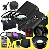 Two Canon EOS 70D DSLR Camera with 18-55mm STM f/3.5-5.6 Lens LP-E6 Lithium Ion Replacement Battery + 8GB SDHC Class 10 Memory Card + 58mm 3 Piece Filter Kit + Full Size Tripod + 58mm Macro Close Up Kit + 58mm 2x Telephoto Lens + 58mm Wide Angle Lens + Ca