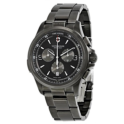 Victorinox Men's 'Night Vision' Swiss Quartz Titanium and Stainless Steel Casual Watch, Color:Black (Model: 241730)
