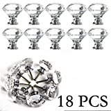 Cabinet Knobs Yazer Transparent 18 Pack 30MM Durable Elegant Diamond Shape Crystal Knobs Door Pull Handle Drawer Cupboard Door Wardrobe Cabinet Knobs (Clear)