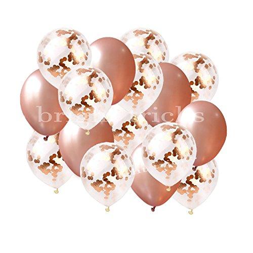 [해외]밝은 트릭 리얼 로즈 골드 18 인치 색종이 풍선 세트 | 16 Piece PREMIUM QUALITY 우아한 라텍스 파티 풍선 결혼식, 생일, 신부 샤워,/BRIGHT TRICKS REAL Rose Gold 18 inch Confetti Balloon Set |16 Pcs PREMIUM QUALITY Elegant Latex Party Ba...