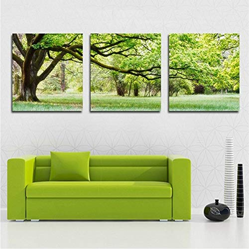 (KKJJ Personalised Canvas Art Print Modern Wall Art Painting Green Tree Lawn Landscape Canvas Painting | Wall Art Pictures for Living Room, Kitchen - 3 Pieces,Green,15.7