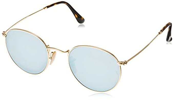 24a480d9de2 Ray-Ban Round Metal RB3447N Sunglasses Shiny Gold Grey Flash 50mm    Cleaning Kit