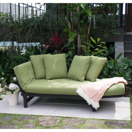 Better Homes and Gardens Delahey Studio Day Sofa with Cushions - Green By Dreamsales