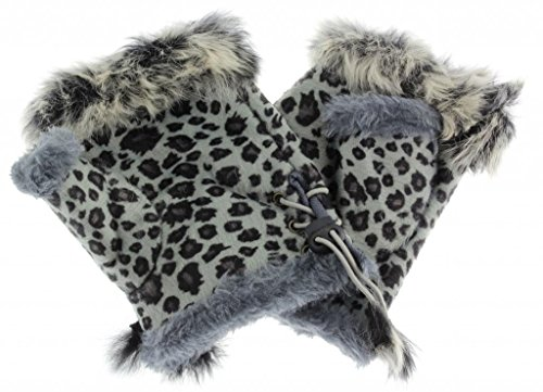 Leopard Print Fingerless Gloves - Women's Leopard Print Rabbit Fur Fingerless Gloves Arm Warmers (Grey)