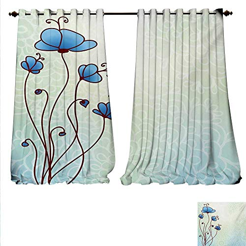 familytaste Decorative Curtains for Living Room Spring Petal Birthday Celebration Valentines Flourish Beauty Girlish Print Room Darkening Wide Curtains W72 x L108 Pale and Violet -