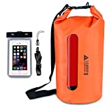 Kyпить Leader Accessories Waterproof PVC Dry Bag with Clear Window and Phone Case for Boating Camping Kayaking Fishing Swimming Floating(20L,Orange) на Amazon.com