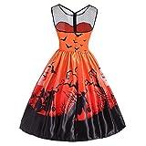 kaifongfu Ladies Vintage Halloween Dress O-Neck Women Party Swing Dress(Orange,M)