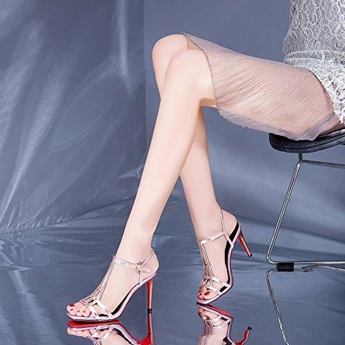 JIANXIN Passen Passen Passen Sie EIN Kleid Mit Einem Paar Super High Heels Sommer Rosa Schuhe Ledersandalen. (Farbe   Rosa größe   EU 38 US 7 UK 5 JP 24.5cm) fec3eb