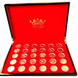 Brilliant Uncurculation Full Sets 2012 Olympic 50p coins + Completer Medallion with Deluxe Lacquer Finish Wooden Coin Boxed