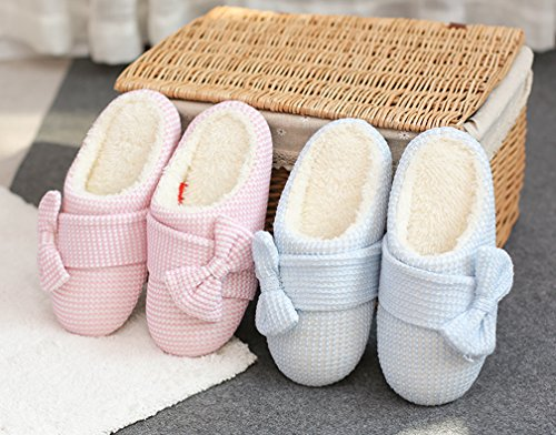 Cattior Womens Big Bow Cute Slippers House Indoor Warm Slippers Pink ntuWev
