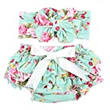 Glabloomer Baby Girl's Bloomer and Headband Set With Big Bow Diaper Covers galabloomer