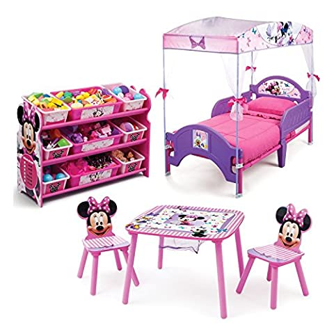Minnie Mouse Kids Bedroom Furniture Sets 3 Piece Cozy Toddler Bed and Plastic Storage Containers with Kids Table and Chairs