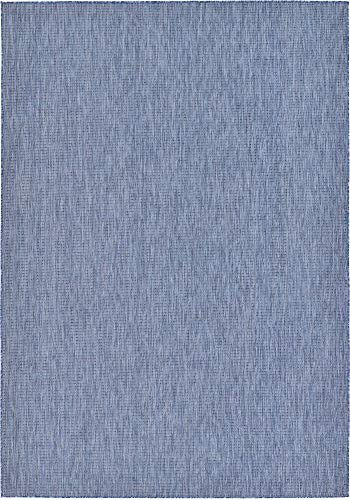 Unique Loom Outdoor Solid Collection Casual Transitional Indoor and Outdoor Flatweave Blue  Area Rug (8' 0 x 11' 4)