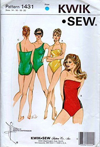 Kwik Sew 1431 Ladies' Misses' One Piece Swimsuit Sewing Pattern Sizes 14-16-18-20