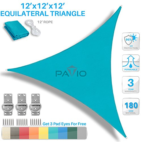Patio Paradise 12' x 12' x 12' Turquoise Green Sun Shade Sail Equilateral Triangle Canopy - Permeable UV Block Fabric Durable Outdoor - Customized (Turquoise Triangle)