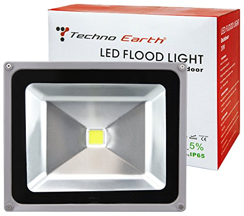 Techno Earth F50K 90-240V 120-Degree Beam Angle Landscape Outdoor Waterproof 50W LED Flood Light Lamp, Cool White