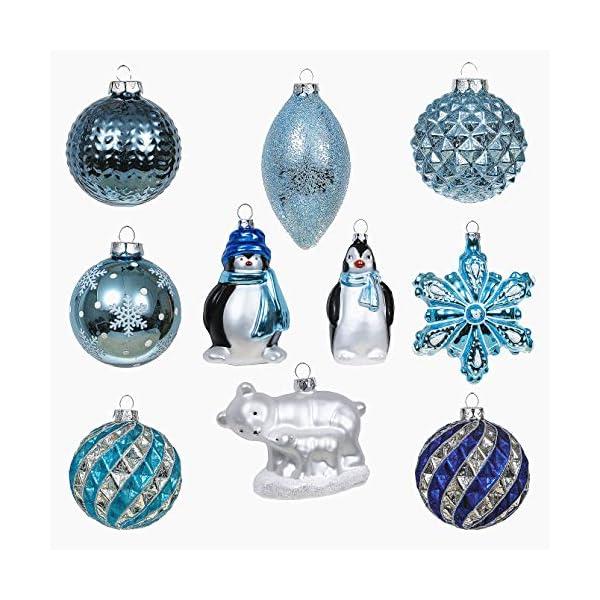 Valery Madelyn Palle di Natale Vetro Addobbi Natalizi Set, 10 Pezzi 8-12cm White And Blue Palline di Natale Decoration for Addobbi Natalizi per Albero 1 spesavip