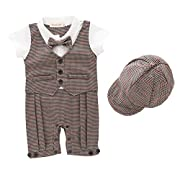 AvaCostume Baby Boys Houndstooth Gentleman Suits One-Piece Romper, 9M