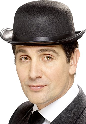 Smiffys Bowler Hat Felt with Band - Black,Standard (Black Bowler Felt Hat)