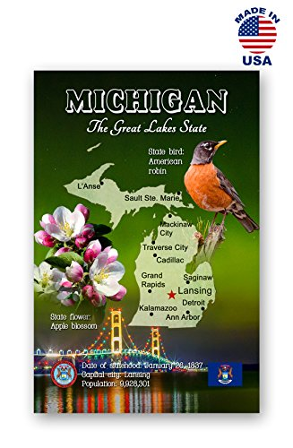 MICHIGAN MAP postcard set of 20 identical postcards. MI state map post cards. Made in USA. (Michigan Set)