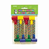 Unique 6901 Candy Striped Party Blowers, 8-Count, Multicolor