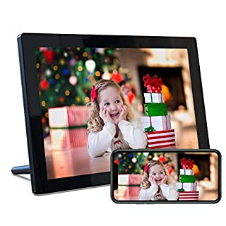 """Digital Picture Frame WiFi with 10.1"""" IPS Touch Screen HD Display, Share Photo via App, Email, 16GB Storage, Wall-Mountable/Auto-Rotate/Support 1080P Video/USB/SD Card"""