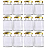12 Pack 4 oz 120 ml Hexagon Mini Glass Canning Jars,Jam Jars