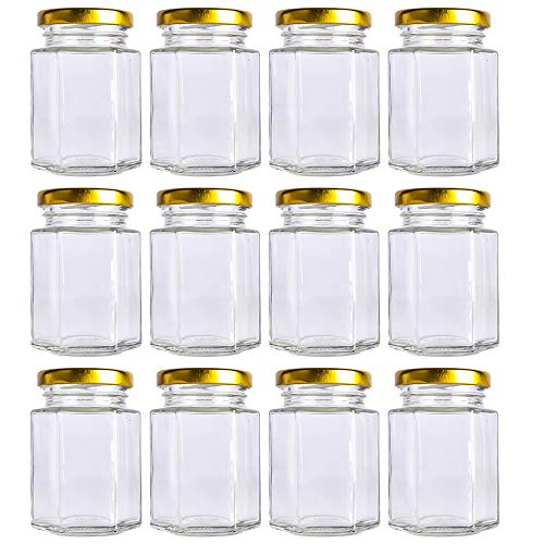 (12 pack 4 oz Clear Glass Jam Jars for Jam,Honey,candies,sauce,Baby Foods,Jelly Wedding Favors,DIY Magnetic Spice Jars(Comes with gold lids) )