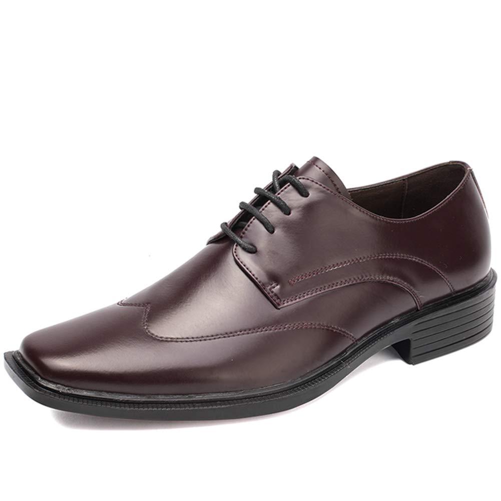 LXYIUN Britische quadratische Kopfschuhe für Herren,Trend Formelle Kleidung Freizeit Gemütlich Einzelne Schuhe,braun,39