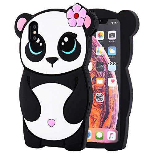 TopSZ Flower Panda Case for iPhone XR 6.1,Silicone 3D Cartoon Animal Floral Skin Cover,Kids Girls Teen Animated Cool Fun Cute Kawaii Soft Rubber Funny Unique Design Character Cases for iPhoneXR