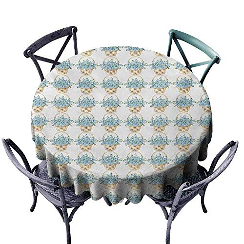 Polyester Tablecloth Ivory and Blue Wicker Basket Design with Spring Season Blooming Flowers Pale Blue Ivory and Green for Kitchen Dinning Tabletop Decoration D71