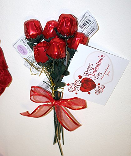 Red Chocolate Rose Bouquet of 6 Stems with Personalized Valentine's Gift Card (Chocolate Roses Bouquet)