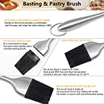 Dough Blender | Stainless Steel Pastry Cutter Set, Pastry Blender + Dough Scraper + Pastry Brush, Professional Dough Cutter/Blender Scraper/Pastry Brush Set for Kitchen Baking Tools 12 THE STAINLESS STEEL DOUGH BLENDER: The pastry blender will NOT break, bend or rust. Sturdy and durable metal blades will make you amazed at how quickly this pastry tool works to get uniform pieces of butter mixed in flour. This dough cutter can not only chop fruit and soft vegetables or nuts, but also mash up baby food, make salsa, guacamole and muffin topping etc..Comfortable soft grip handle won't make you tired after using it. It is much safer than plastic and easy on those with arthritis. BENCH SCRAPER OF PASTRY SET: Together with the dough blender, dough scraper make baking get easier. The dough blender expertly combines your ingredients while the bench scraper helps you scrape, measure, cut and even transfer dough. They are the perfect pair. The pastry cutter is useful to cut even brownies, cut dough for pastries/cinnamon rolls/dinner rolls/pizza/pasta and cookies, scoop up chopped vegetables or herbs to transfer to a pot, clean counters of crumbs and dried dough. PASTRY BRUSH: Made of 100% FDA approved Stainless Steel and Silicon. 100% Bristle-free. Heat resistant up to 500⁰F. Long enough to avoid burns from hot oil during on barbecue. Good choice for toast, jam, honey, pastry, condensed milk, breakfast, birthday party, outdoor BBQ grill, roast. This basting brush will not melt, warp, discolor, or shrink like regular plastic or wooden brushes. The bristles will not break or shed in your food like old brushes. Safe and durable.