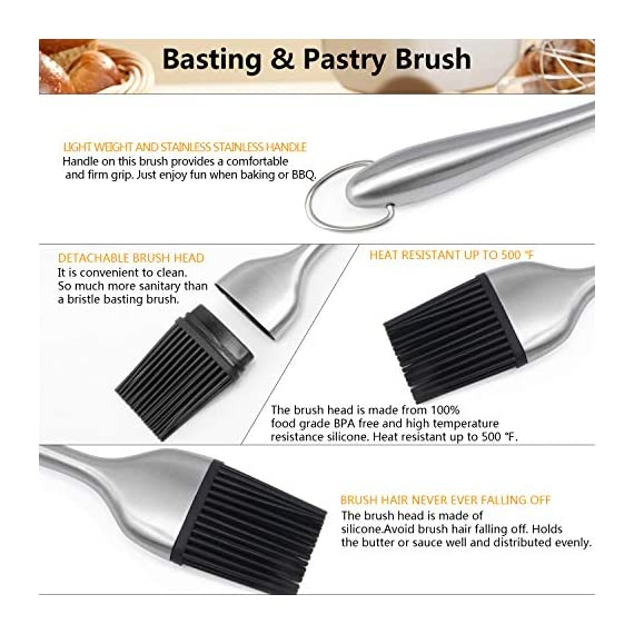 Dough Blender | Stainless Steel Pastry Cutter Set, Pastry Blender + Dough Scraper + Pastry Brush, Professional Dough Cutter/Blender Scraper/Pastry Brush Set for Kitchen Baking Tools 5 THE STAINLESS STEEL DOUGH BLENDER: The pastry blender will NOT break, bend or rust. Sturdy and durable metal blades will make you amazed at how quickly this pastry tool works to get uniform pieces of butter mixed in flour. This dough cutter can not only chop fruit and soft vegetables or nuts, but also mash up baby food, make salsa, guacamole and muffin topping etc..Comfortable soft grip handle won't make you tired after using it. It is much safer than plastic and easy on those with arthritis. BENCH SCRAPER OF PASTRY SET: Together with the dough blender, dough scraper make baking get easier. The dough blender expertly combines your ingredients while the bench scraper helps you scrape, measure, cut and even transfer dough. They are the perfect pair. The pastry cutter is useful to cut even brownies, cut dough for pastries/cinnamon rolls/dinner rolls/pizza/pasta and cookies, scoop up chopped vegetables or herbs to transfer to a pot, clean counters of crumbs and dried dough. PASTRY BRUSH: Made of 100% FDA approved Stainless Steel and Silicon. 100% Bristle-free. Heat resistant up to 500⁰F. Long enough to avoid burns from hot oil during on barbecue. Good choice for toast, jam, honey, pastry, condensed milk, breakfast, birthday party, outdoor BBQ grill, roast. This basting brush will not melt, warp, discolor, or shrink like regular plastic or wooden brushes. The bristles will not break or shed in your food like old brushes. Safe and durable.