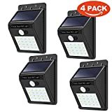 Fineser LED Solar Lights,20 LED Outdoor Solar Wall Light with Motion Sensor Detector for Garden Fence Deck Yard Driveway Walkways Landscaping Security(4Pack)