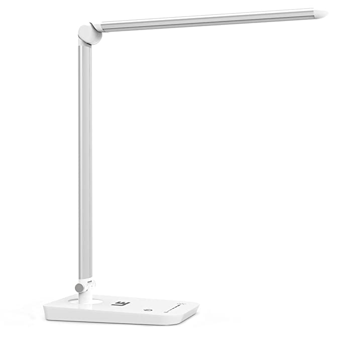 LE Dimmable LED Desk Lamp, 7 Dimming Levels, Eye-care, 8W, Touch Sensitive, Daylight White, Folding Table Lamps, Reading Lamps, Bedroom Lamps (Silver White)