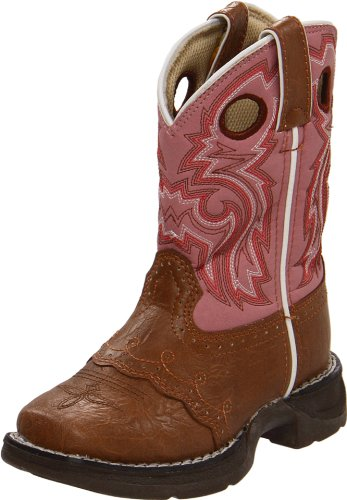 Durango Kids BT287 Lil' 8 Inch Saddle,Tan/Pink,2 M US Little