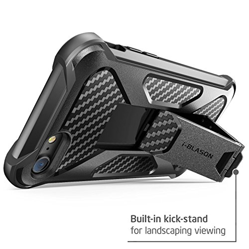 iPhone 7 Case, iPhone 8 Case, i-Blason Transformer [Kickstand] Apple iPhone 7/Apple iPhone 8 [Heavy Duty] [Dual Layer] Combo Holster Cover case with [Locking Belt Swivel Clip] (Black) by i-Blason (Image #3)