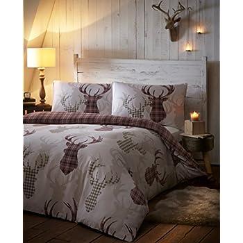 Amazon Com Tartan Stag Reversible Duvet Quilt Cover