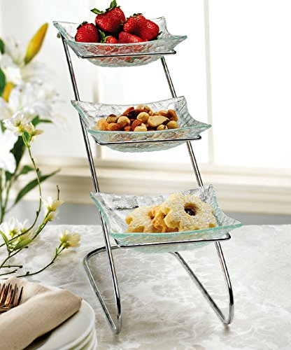 Elegant Food Serving Stand 3 Tier Metal Display With 3 Clear Square Glass Platters | Perfect for Party Foods, Desserts, Fruit And (Elegant Tray Stand)