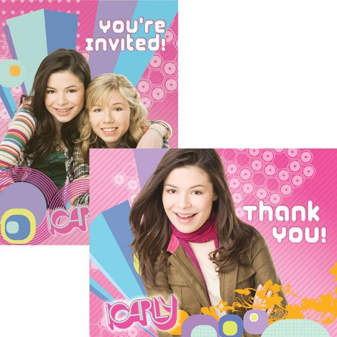 American Greetings - iCarly 8 Invitations and 8 Thank You Postcards -