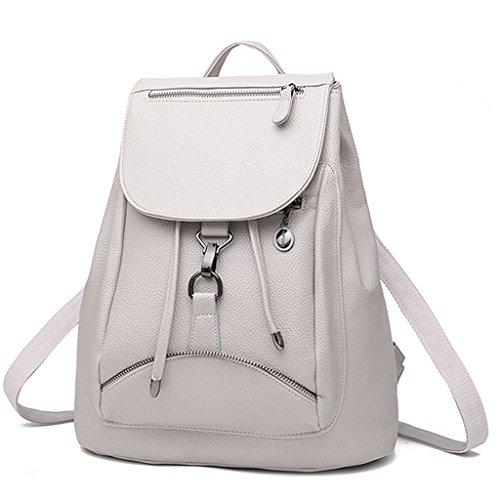BOBILIKE Women Leather Backpack Purse Casual Travel Shoulder Bags Cute Daypacks, Beige White