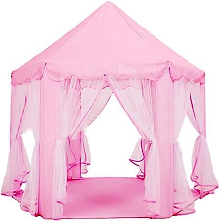 Tienda de campaña para niñas Hexagon Princesa Castillo Casa Palace Tiendas de juegos para niños con luz de estrella para interior y exterior Rosa Niños Play Casa plegable Teepee Casa para bebé: