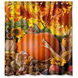 FMSHPON Autumn Leaves Happy Thanksgiving Day Pumpkin Sunflowers Bathroon Waterproof Shower Curtain Size 66