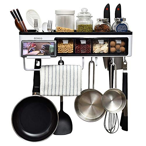 Juyou Kitchen Organization Wall Pot Rack Caddy Shelves with Towel Bar 7 Hanger Hooks, Cutlery Cooking Knife Utensils Mugs Holder, Pan Cookware Pantry Organizer Storage. 20 Inch - 7 Pot Hanger