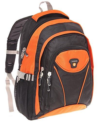 Rucksack, Sportrucksack, Laptoprucksack, Fahrradrucksack, Schulrucksack, Schultasche, Schulranzen, Ranzen, Arbeit, Freizeit, Sport, Schule, sehr robust und stabil (Grau) Orange