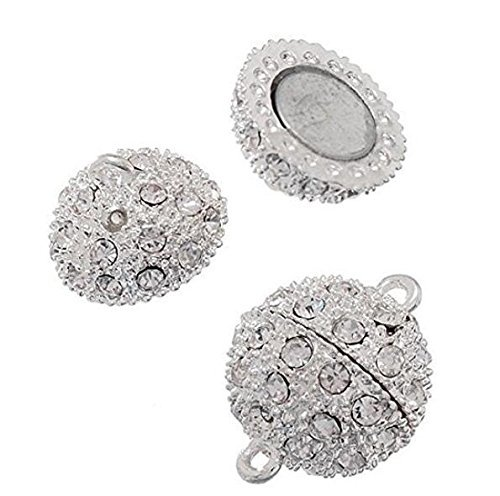 Yevison Silver Plated 5 PCS Crystal Shamballa Style Bling Rhinestone Pave Ball Magnetic Beads Clasp for Bracelet Necklace Jewelry, 10 mm Durable and ()